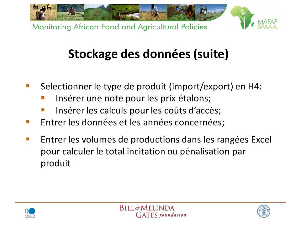 Selectionner le type de produit (import/export) en H4: Insérer une note pour les prix étalons; Insérer les calculs pour les coûts daccès; Entrer les d