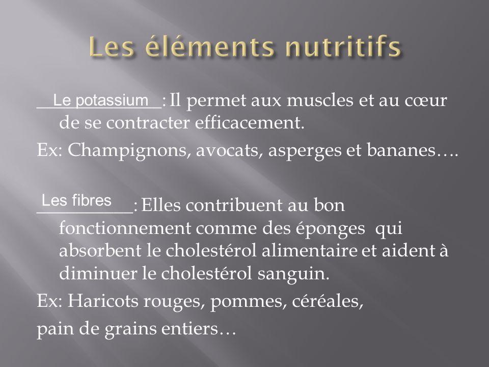 _____________: Il permet aux muscles et au cœur de se contracter efficacement. Ex: Champignons, avocats, asperges et bananes…. __________: Elles contr