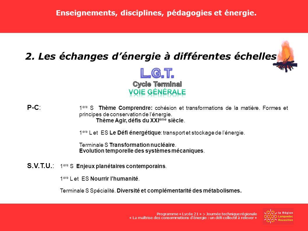 Enseignements, disciplines, pédagogies et énergie. 2. Les échanges dénergie à différentes échelles. Programme « Lycée 21 » > Journée technique régiona