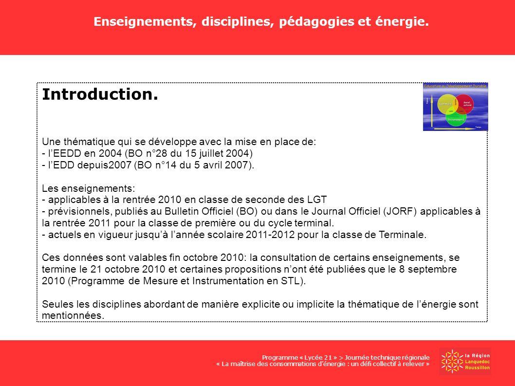 Introduction. Une thématique qui se développe avec la mise en place de: - lEEDD en 2004 (BO n°28 du 15 juillet 2004) - lEDD depuis2007 (BO n°14 du 5 a