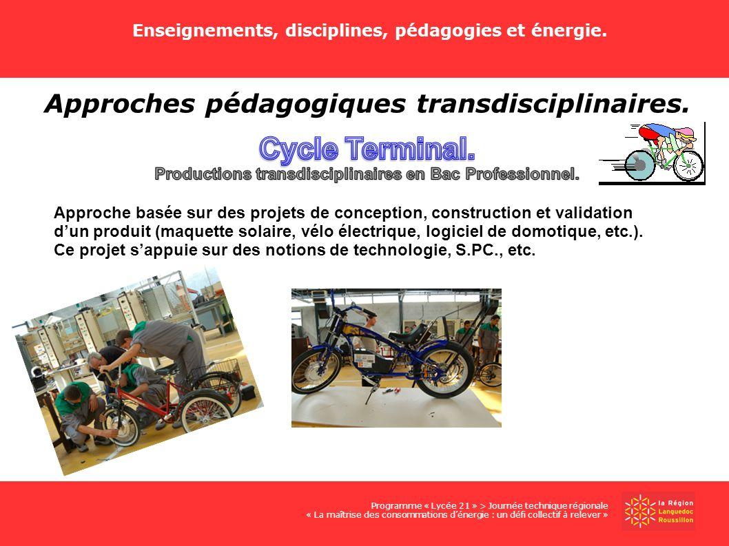 Enseignements, disciplines, pédagogies et énergie. Programme « Lycée 21 » > Journée technique régionale « La maîtrise des consommations dénergie : un