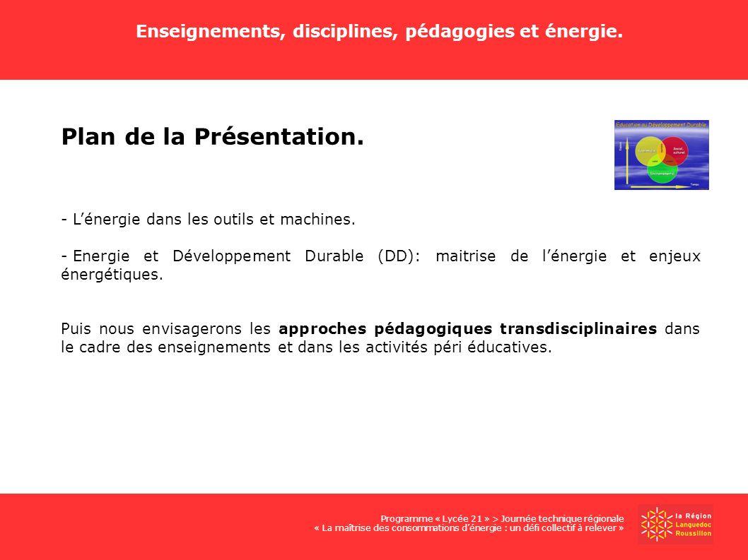Enseignements, disciplines, pédagogies et énergie. Plan de la Présentation. - Lénergie dans les outils et machines. - Energie et Développement Durable