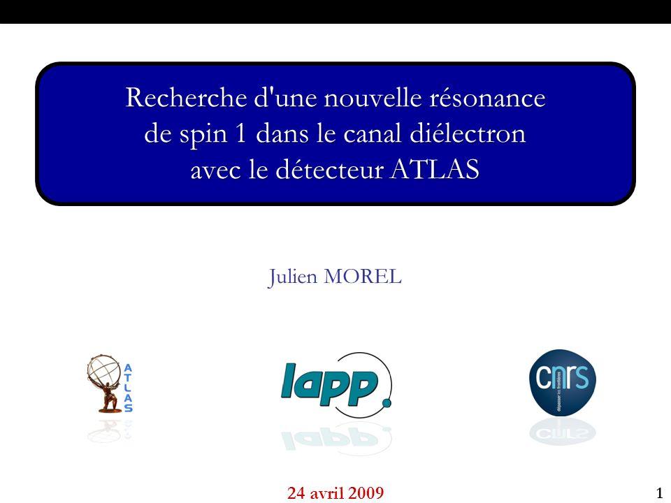 1 I - Du Z aux ZII – Études Z avec ATLASIII – Recherche dans les données Julien MOREL 24 avril 2009 Recherche d une nouvelle résonance de spin 1 dans le canal diélectron avec le détecteur ATLAS