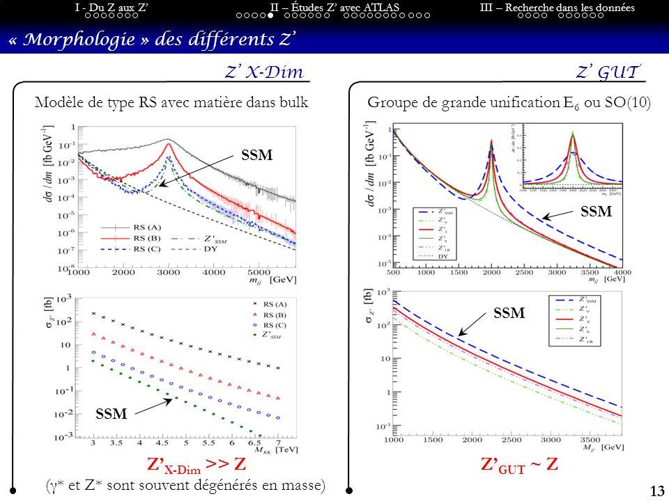 13 I - Du Z aux ZII – Études Z avec ATLASIII – Recherche dans les données « Morphologie » des différents Z Z X-DimZ GUT Modèle de type RS avec matière dans bulkGroupe de grande unification E 6 ou SO(10) SSM Z GUT ~ ZZ X-Dim >> Z (γ* et Z* sont souvent dégénérés en masse)