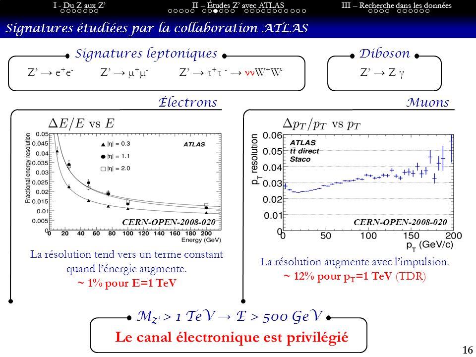16 I - Du Z aux ZII – Études Z avec ATLASIII – Recherche dans les données Signatures étudiées par la collaboration ATLAS Le canal électronique est privilégié M Z > 1 TeV E > 500 GeV Z e + e - Z µ + µ - Z τ + τ - ννW + W - Signatures leptoniques Électrons La résolution augmente avec limpulsion.