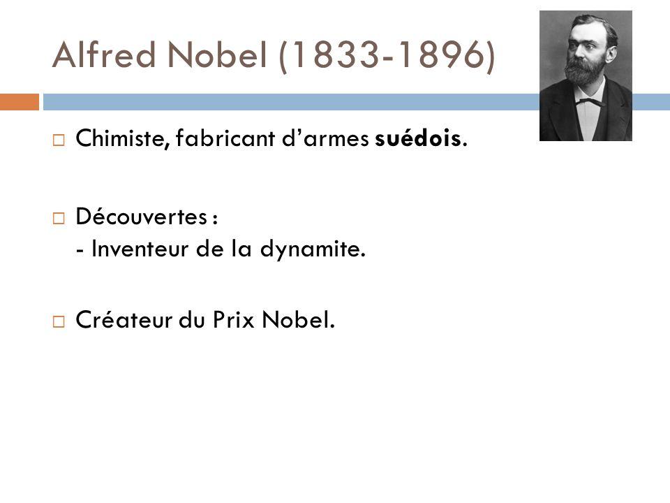 Alfred Nobel (1833-1896) Chimiste, fabricant darmes suédois. Découvertes : - Inventeur de la dynamite. Créateur du Prix Nobel.