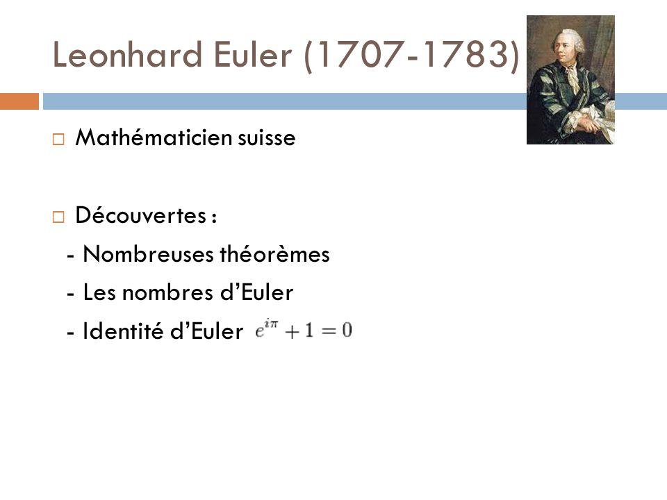 Leonhard Euler (1707-1783) Mathématicien suisse Découvertes : - Nombreuses théorèmes - Les nombres dEuler - Identité dEuler