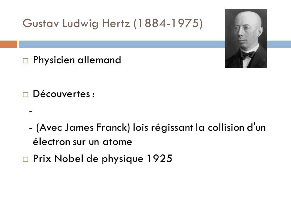 Gustav Ludwig Hertz (1884-1975) Physicien allemand Découvertes : - - (Avec James Franck) lois régissant la collision d'un électron sur un atome Prix N