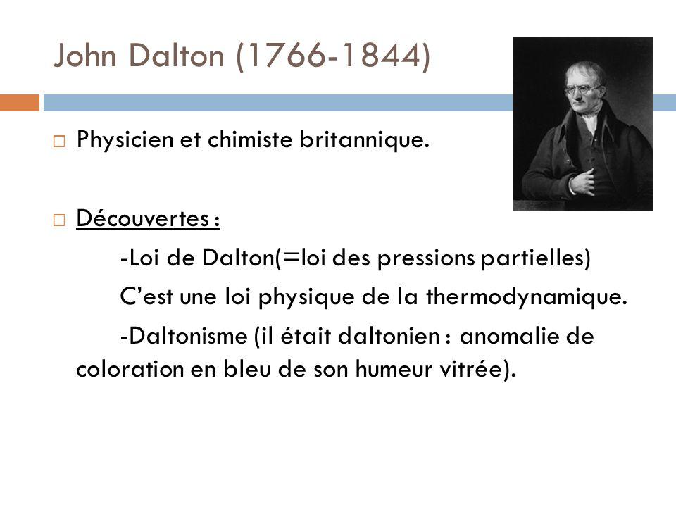 John Dalton (1766-1844) Physicien et chimiste britannique. Découvertes : -Loi de Dalton(=loi des pressions partielles) Cest une loi physique de la the