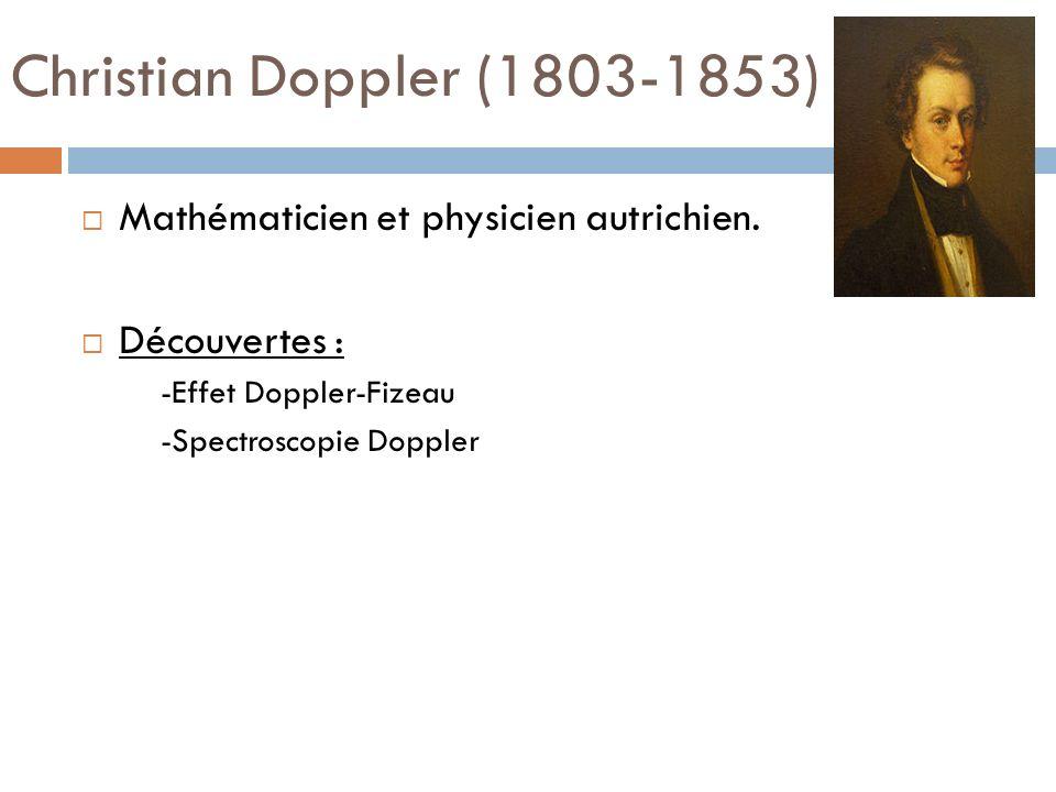 Christian Doppler (1803-1853) Mathématicien et physicien autrichien. Découvertes : -Effet Doppler-Fizeau -Spectroscopie Doppler