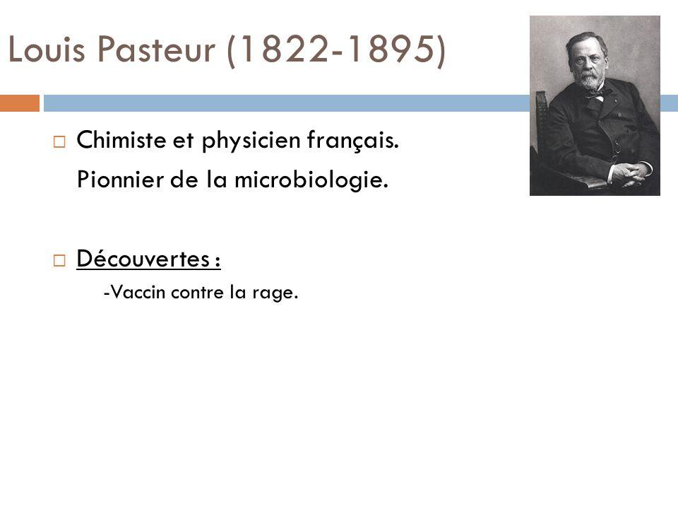 Louis Pasteur (1822-1895) Chimiste et physicien français. Pionnier de la microbiologie. Découvertes : -Vaccin contre la rage.