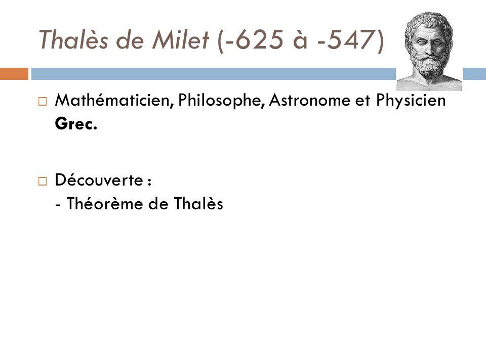 Thalès de Milet (-625 à -547) Mathématicien, Philosophe, Astronome et Physicien Grec. Découverte : - Théorème de Thalès