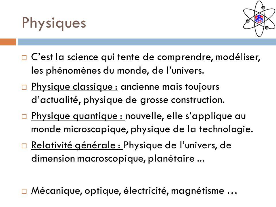 Physiques Cest la science qui tente de comprendre, modéliser, les phénomènes du monde, de lunivers. Physique classique : ancienne mais toujours dactua