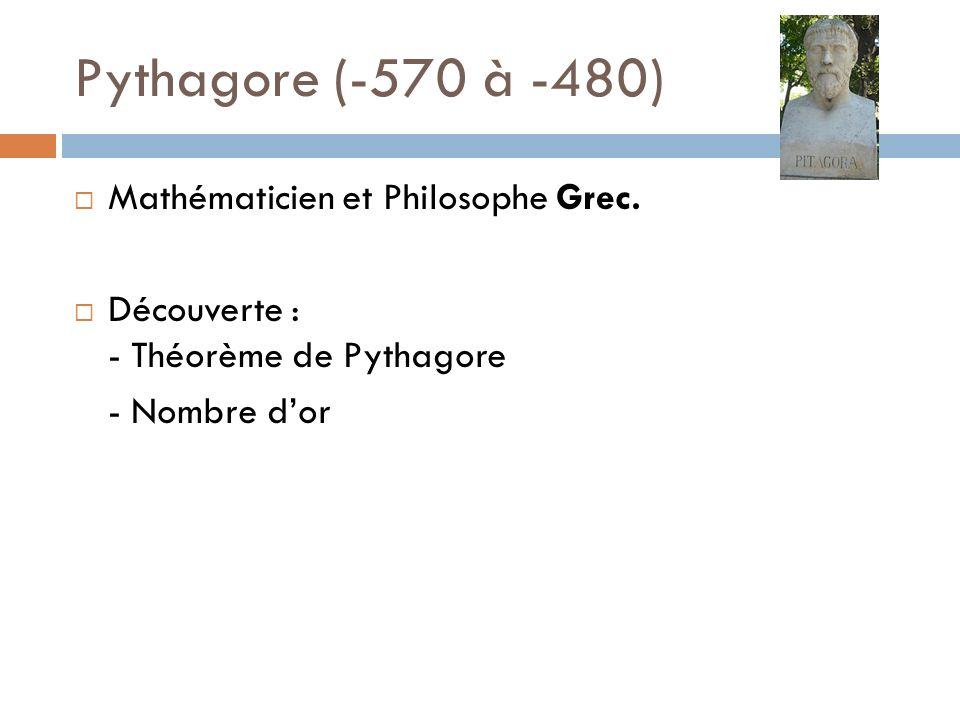 Pythagore (-570 à -480) Mathématicien et Philosophe Grec. Découverte : - Théorème de Pythagore - Nombre dor