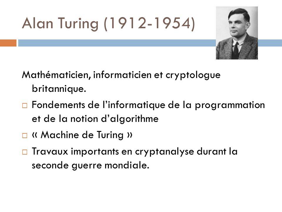 Alan Turing (1912-1954) Mathématicien, informaticien et cryptologue britannique. Fondements de linformatique de la programmation et de la notion dalgo
