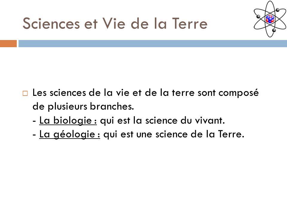 Sciences et Vie de la Terre Les sciences de la vie et de la terre sont composé de plusieurs branches. - La biologie : qui est la science du vivant. -