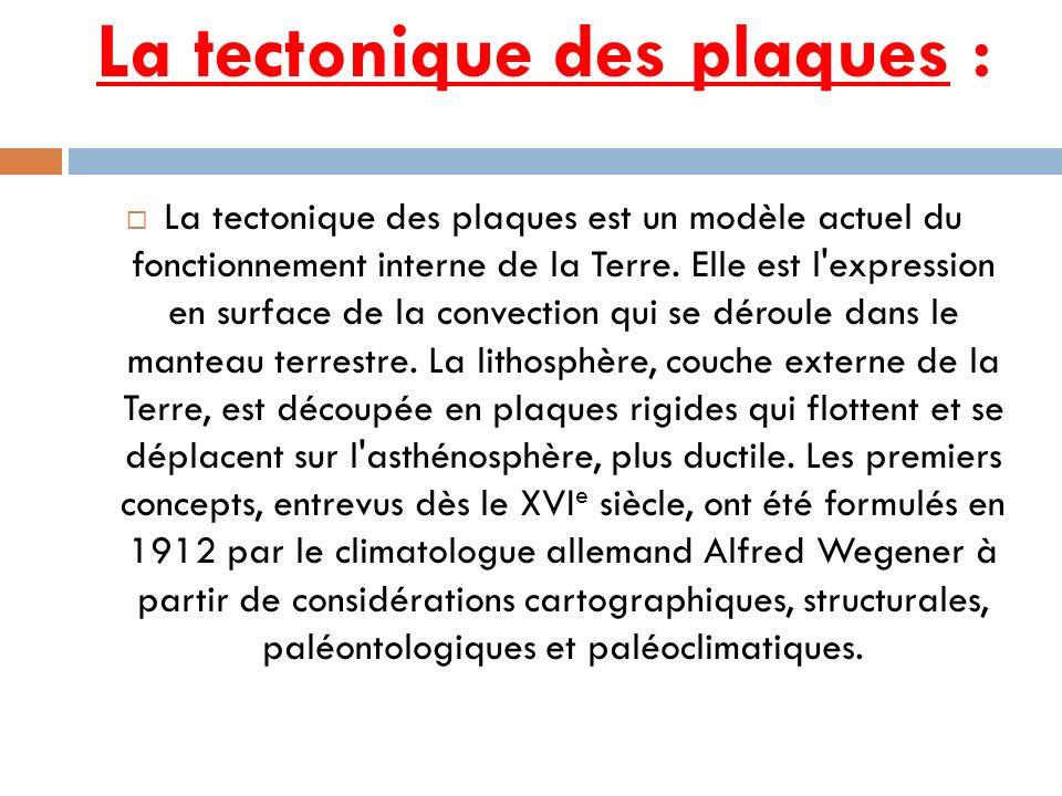 La tectonique des plaques : La tectonique des plaques est un modèle actuel du fonctionnement interne de la Terre. Elle est l'expression en surface de