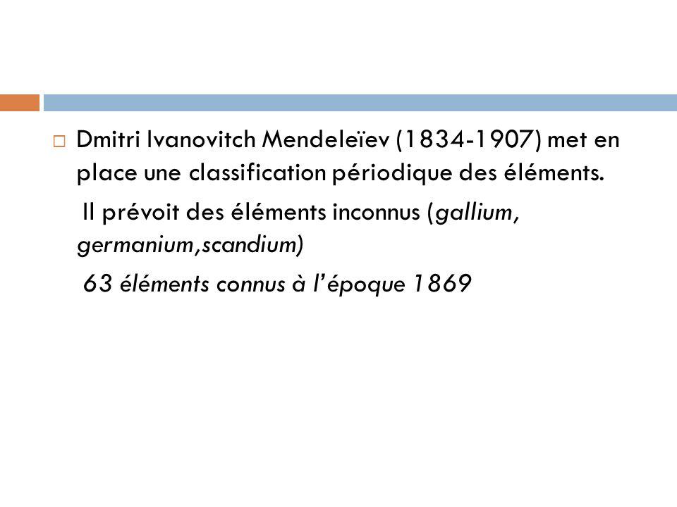 Dmitri Ivanovitch Mendeleïev (1834-1907) met en place une classification périodique des éléments. Il prévoit des éléments inconnus (gallium, germanium