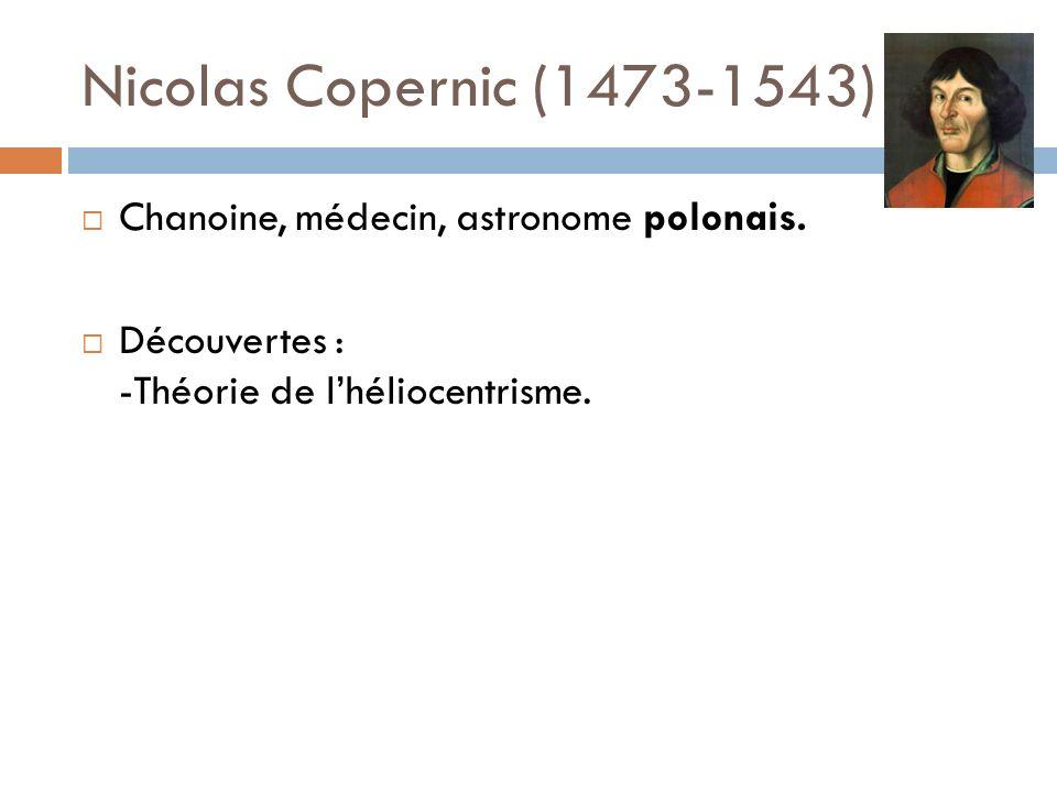 Nicolas Copernic (1473-1543) Chanoine, médecin, astronome polonais. Découvertes : -Théorie de lhéliocentrisme.