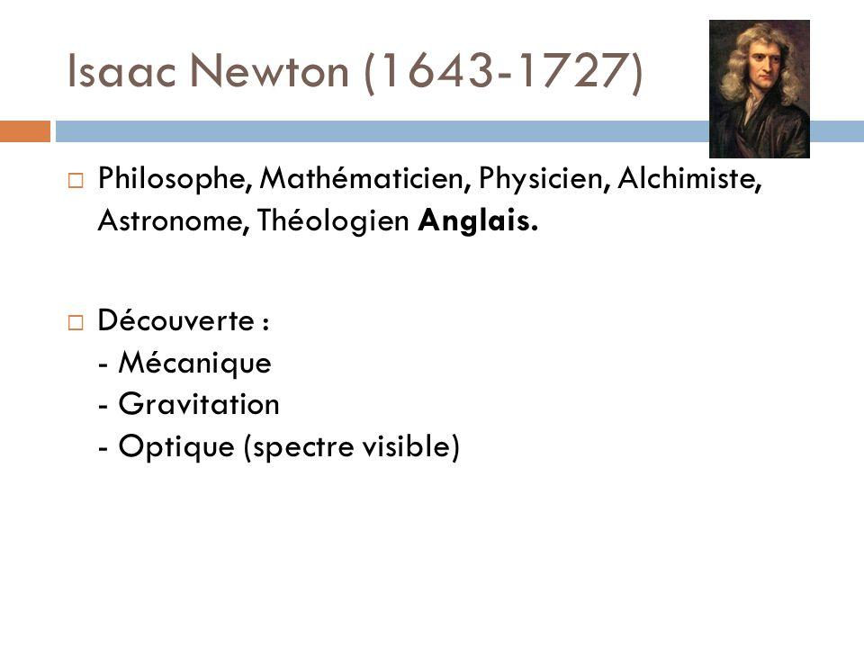 Isaac Newton (1643-1727) Philosophe, Mathématicien, Physicien, Alchimiste, Astronome, Théologien Anglais. Découverte : - Mécanique - Gravitation - Opt