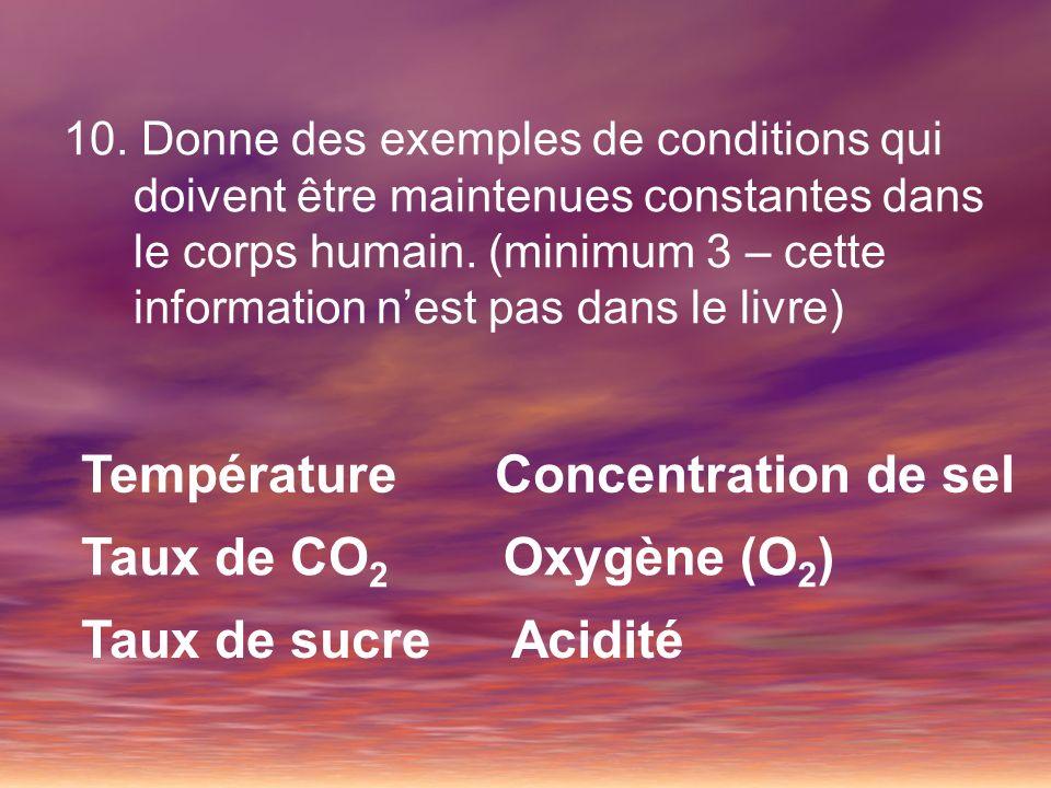 10. Donne des exemples de conditions qui doivent être maintenues constantes dans le corps humain. (minimum 3 – cette information nest pas dans le livr