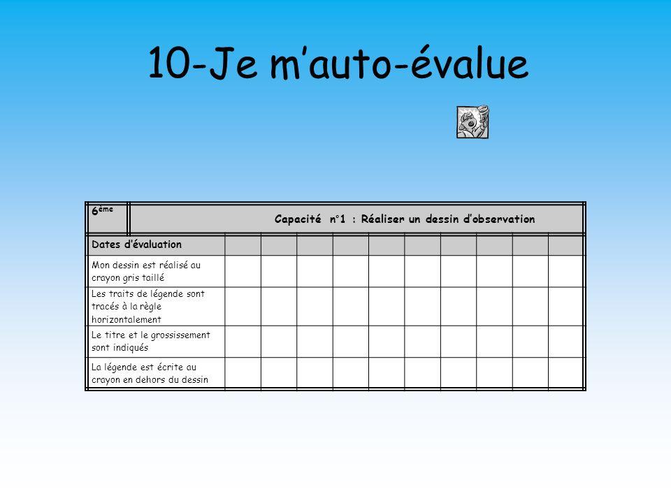 10-Je mauto-évalue 6 ème Capacité n°1 : Réaliser un dessin dobservation Dates dévaluation Mon dessin est réalisé au crayon gris taillé Les traits de l