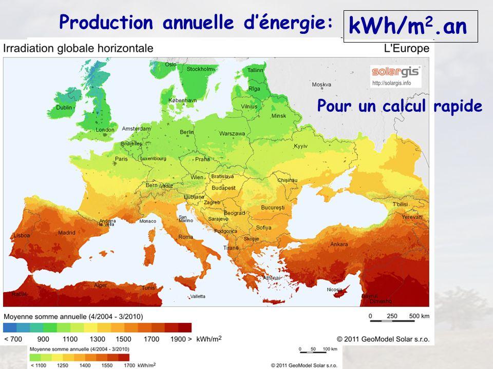 10 Production annuelle dénergie: kWh/m 2.an Pour un calcul rapide