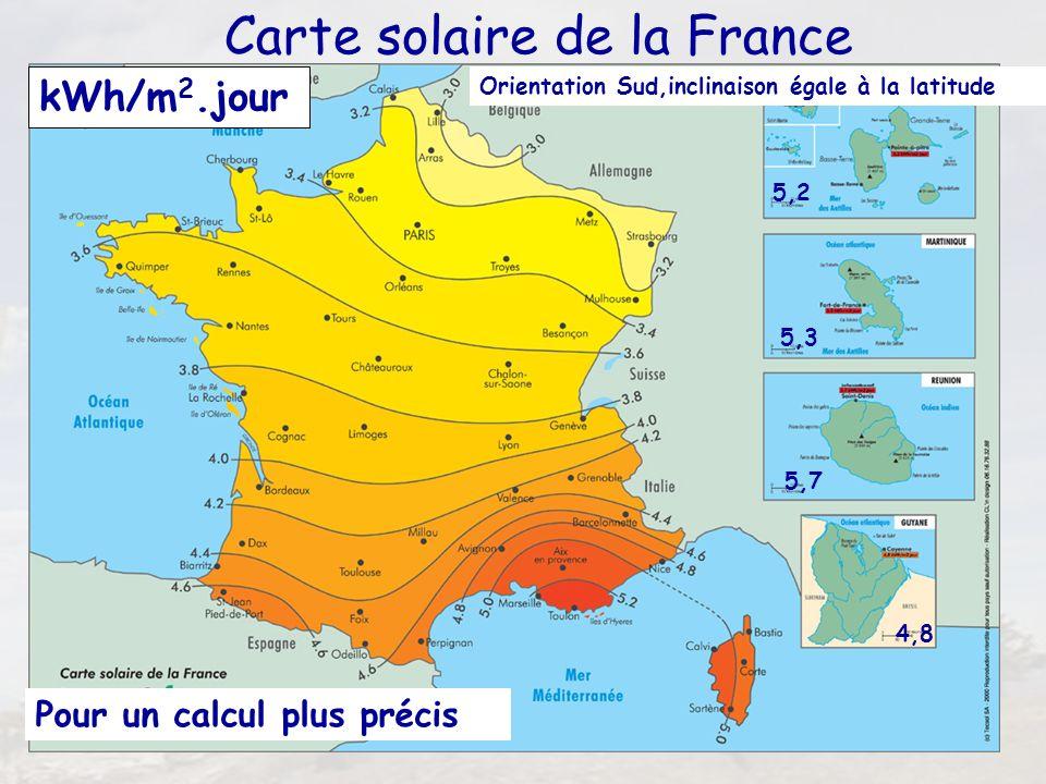 11 Carte solaire de la France 5,2 5,7 5,3 4,8 Pour un calcul plus précis kWh/m 2.jour Orientation Sud,inclinaison égale à la latitude