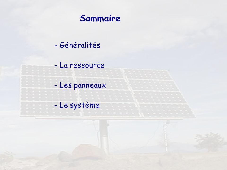 2 Sommaire - Généralités - La ressource - Les panneaux - Le système