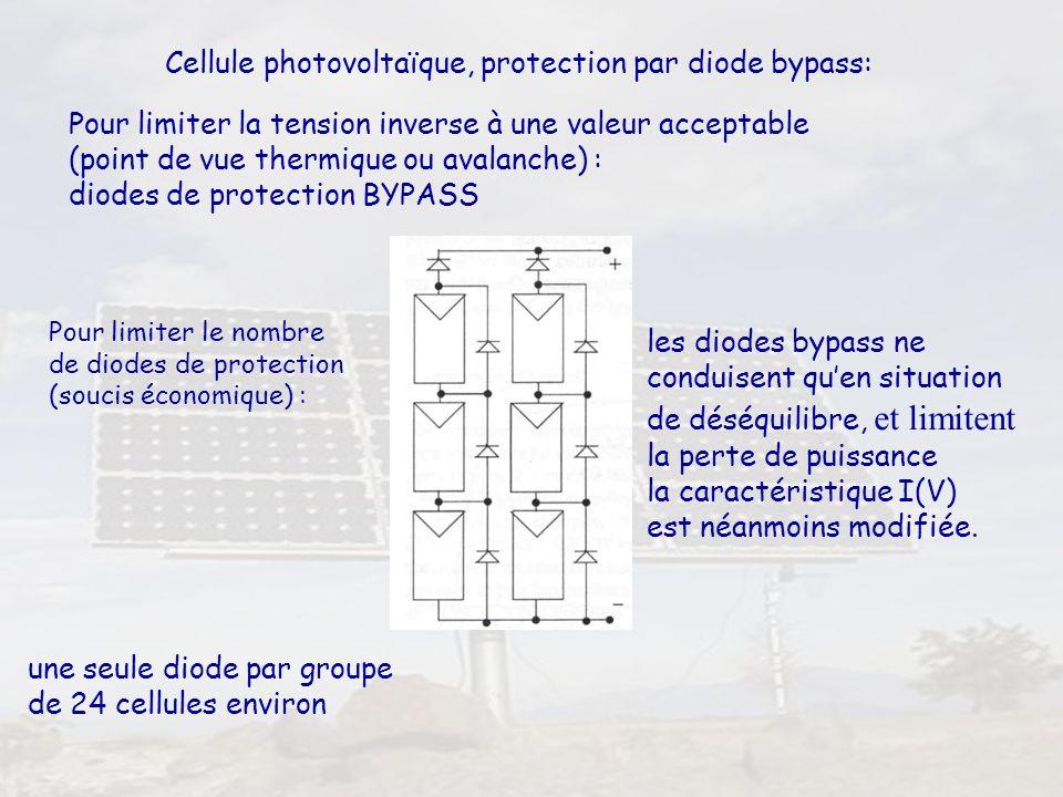 38 Cellule photovoltaïque, protection par diode bypass: Pour limiter la tension inverse à une valeur acceptable (point de vue thermique ou avalanche)