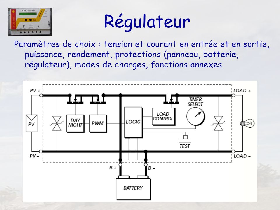 41 Régulateur Paramètres de choix : tension et courant en entrée et en sortie, puissance, rendement, protections (panneau, batterie, régulateur), mode