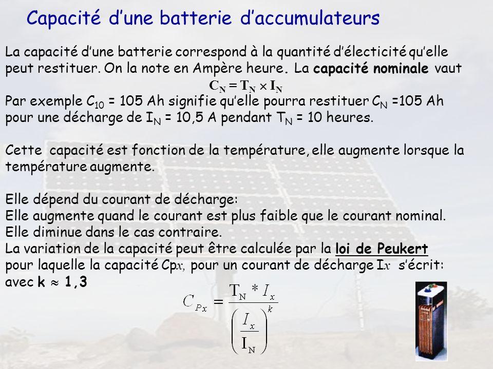 43 Capacité dune batterie daccumulateurs La capacité dune batterie correspond à la quantité délecticité quelle peut restituer. On la note en Ampère he
