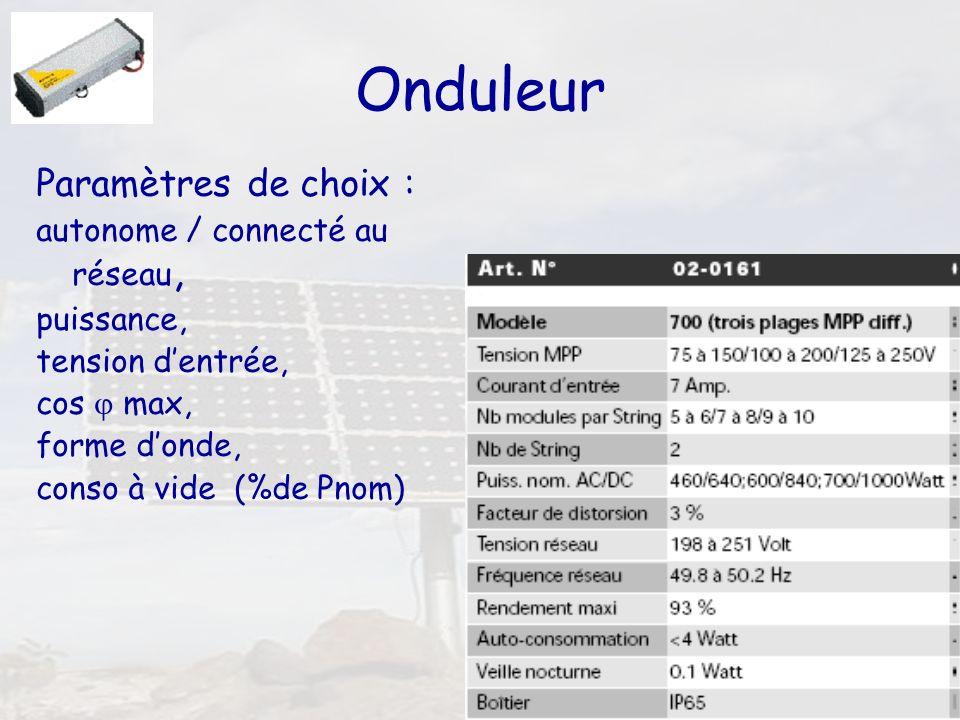 47 Onduleur Paramètres de choix : autonome / connecté au réseau, puissance, tension dentrée, cos max, forme donde, conso à vide (%de Pnom)