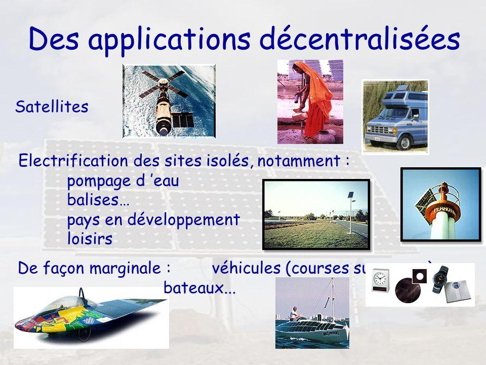 5 Des applications décentralisées Satellites Electrification des sites isolés, notamment : pompage d eau balises… pays en développement loisirs De faç