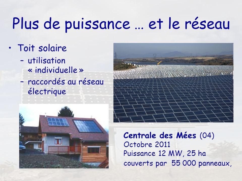 6 Plus de puissance … et le réseau Toit solaire –utilisation « individuelle » –raccordés au réseau électrique Centrale des Mées (04) Octobre 2011 Puis