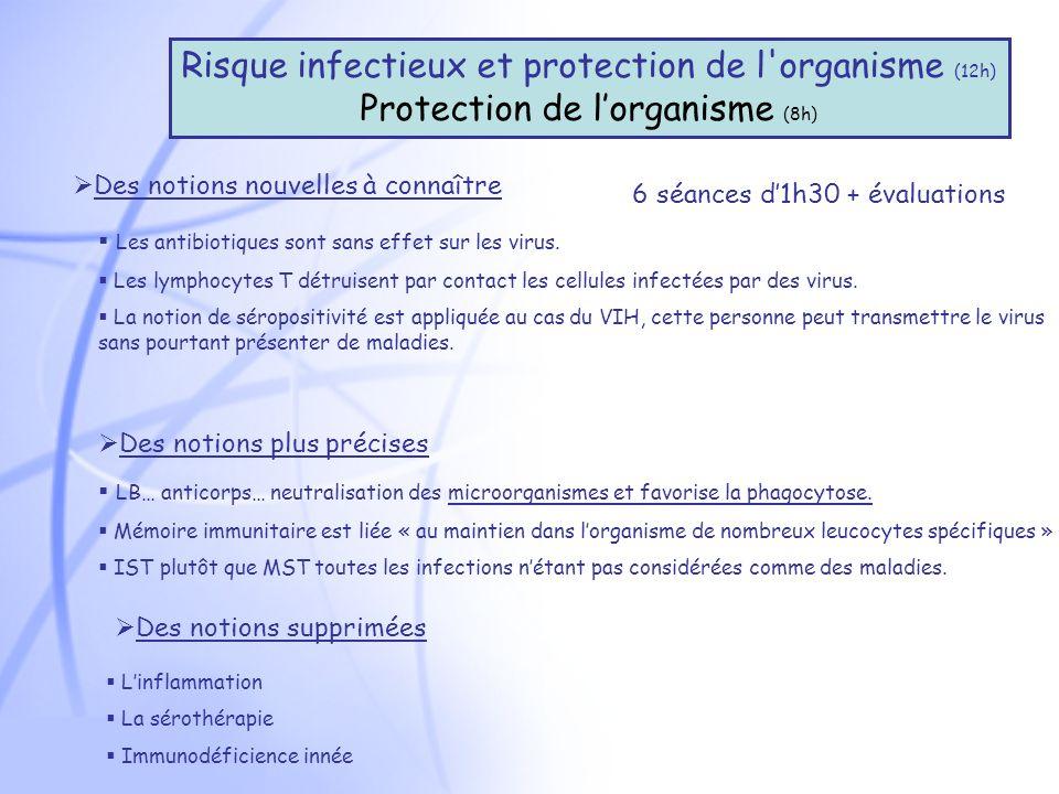Risque infectieux et protection de l organisme (12h) Protection de lorganisme (8h) Des notions nouvelles à connaître Les antibiotiques sont sans effet sur les virus.