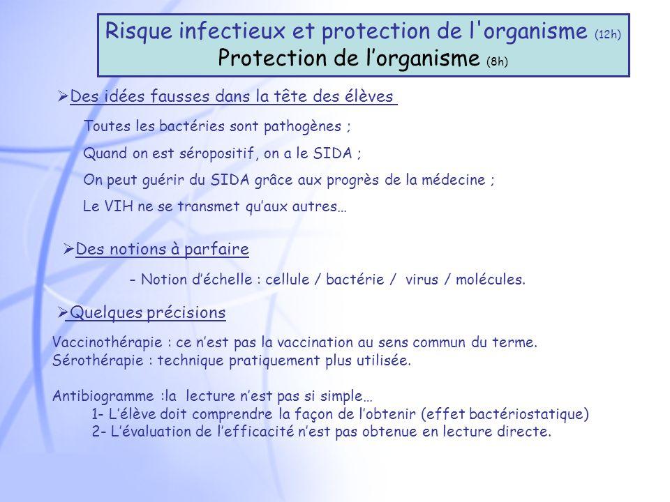 Des idées fausses dans la tête des élèves Risque infectieux et protection de l organisme (12h) Protection de lorganisme (8h) Toutes les bactéries sont pathogènes ; Quand on est séropositif, on a le SIDA ; On peut guérir du SIDA grâce aux progrès de la médecine ; Le VIH ne se transmet quaux autres… Des notions à parfaire - Notion déchelle : cellule / bactérie / virus / molécules.