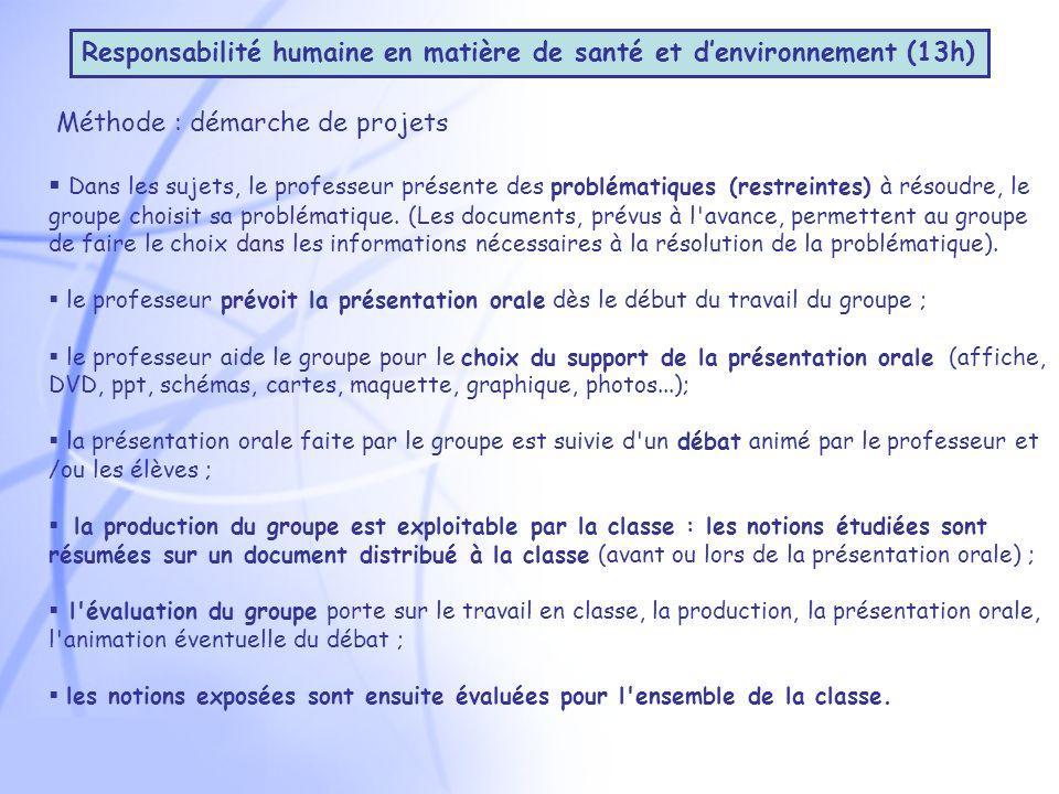 Méthode : démarche de projets Dans les sujets, le professeur présente des problématiques (restreintes) à résoudre, le groupe choisit sa problématique.