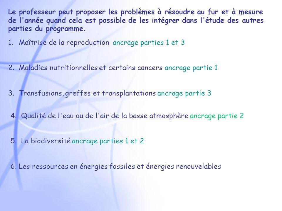 1.Maîtrise de la reproduction ancrage parties 1 et 3 2.Maladies nutritionnelles et certains cancers ancrage partie 1 3.Transfusions, greffes et transplantations ancrage partie 3 4.Qualité de l eau ou de l air de la basse atmosphère ancrage partie 2 5.La biodiversité ancrage parties 1 et 2 6.
