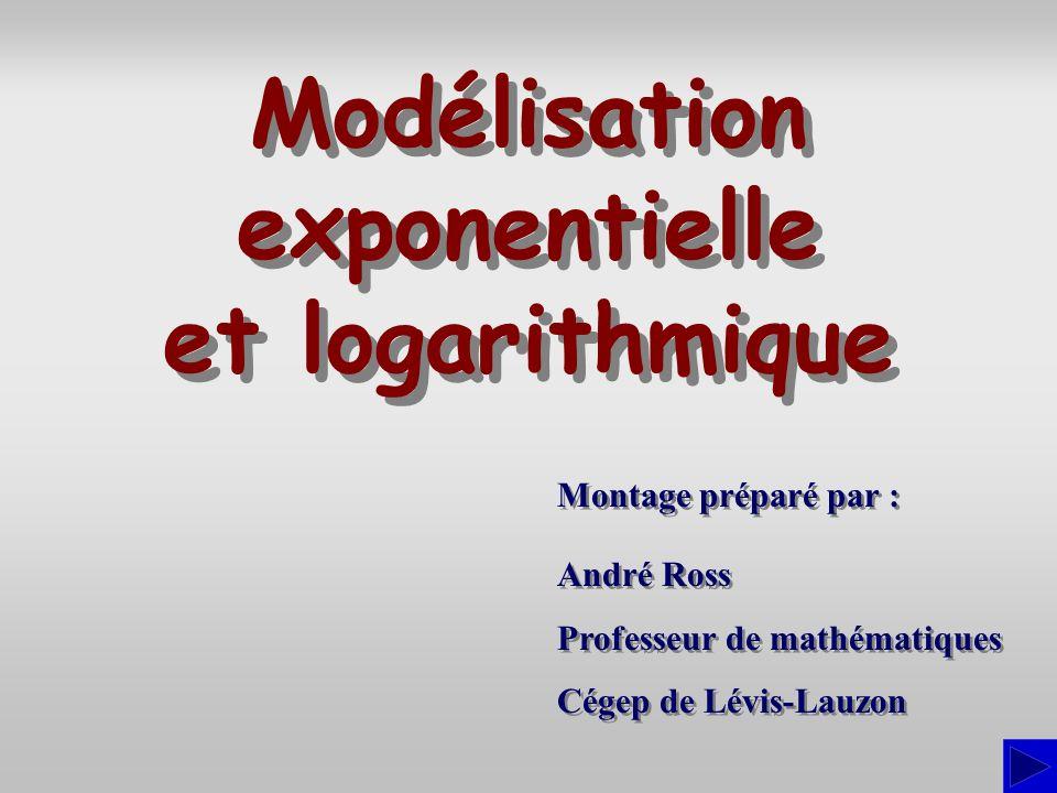 Montage préparé par : André Ross Professeur de mathématiques Cégep de Lévis-Lauzon André Ross Professeur de mathématiques Cégep de Lévis-Lauzon Modélisation exponentielle et logarithmique