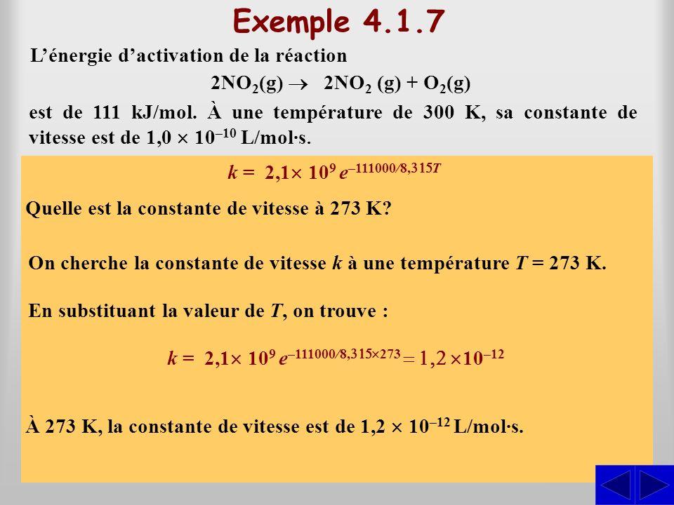 Équation dArrhenius forme logarithmique où k est la constante de vitesse (L/mol·s), A, est une constante, E a, lénergie dactivation (J/mol), R, la constante molaire des gaz (R = 8,315 J/K·mol) et T, la température en degré kelvins (K).