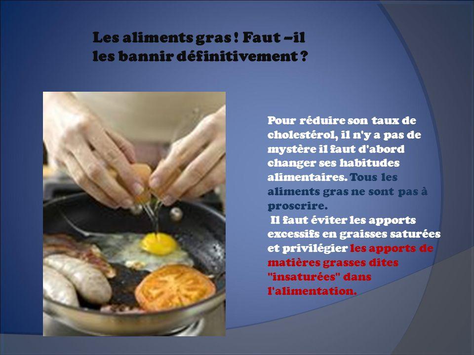 Les aliments gras ! Faut –il les bannir définitivement ? Pour réduire son taux de cholestérol, il n'y a pas de mystère il faut d'abord changer ses hab