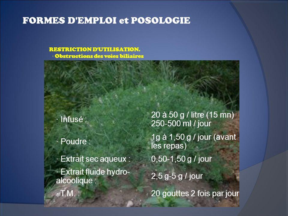 FORMES D'EMPLOI et POSOLOGIE · Infusé : 20 à 50 g / litre (15 mn) 250-500 ml / jour · Poudre : 1g à 1,50 g / jour (avant les repas) · Extrait sec aque
