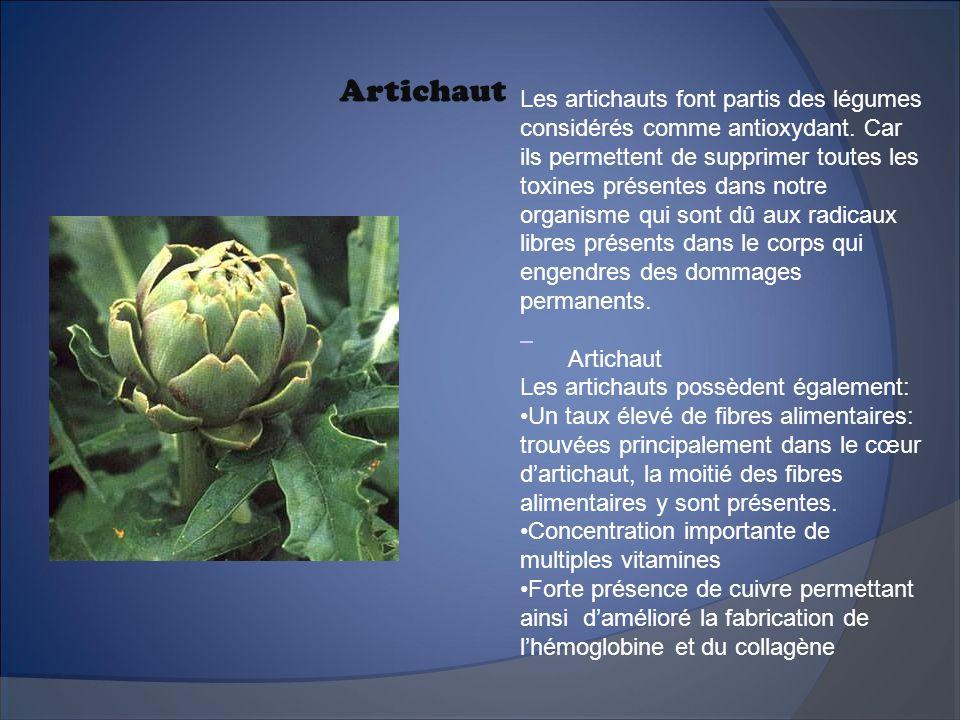 Artichaut Les artichauts font partis des légumes considérés comme antioxydant. Car ils permettent de supprimer toutes les toxines présentes dans notre