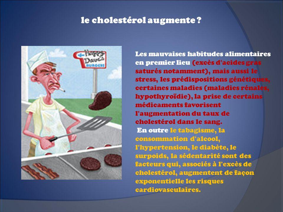 le cholestérol augmente ? Les mauvaises habitudes alimentaires en premier lieu (excès d'acides gras saturés notamment), mais aussi le stress, les préd