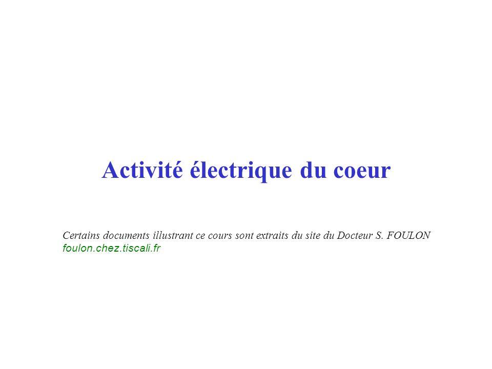 Activité électrique du coeur Certains documents illustrant ce cours sont extraits du site du Docteur S. FOULON foulon.chez.tiscali.fr