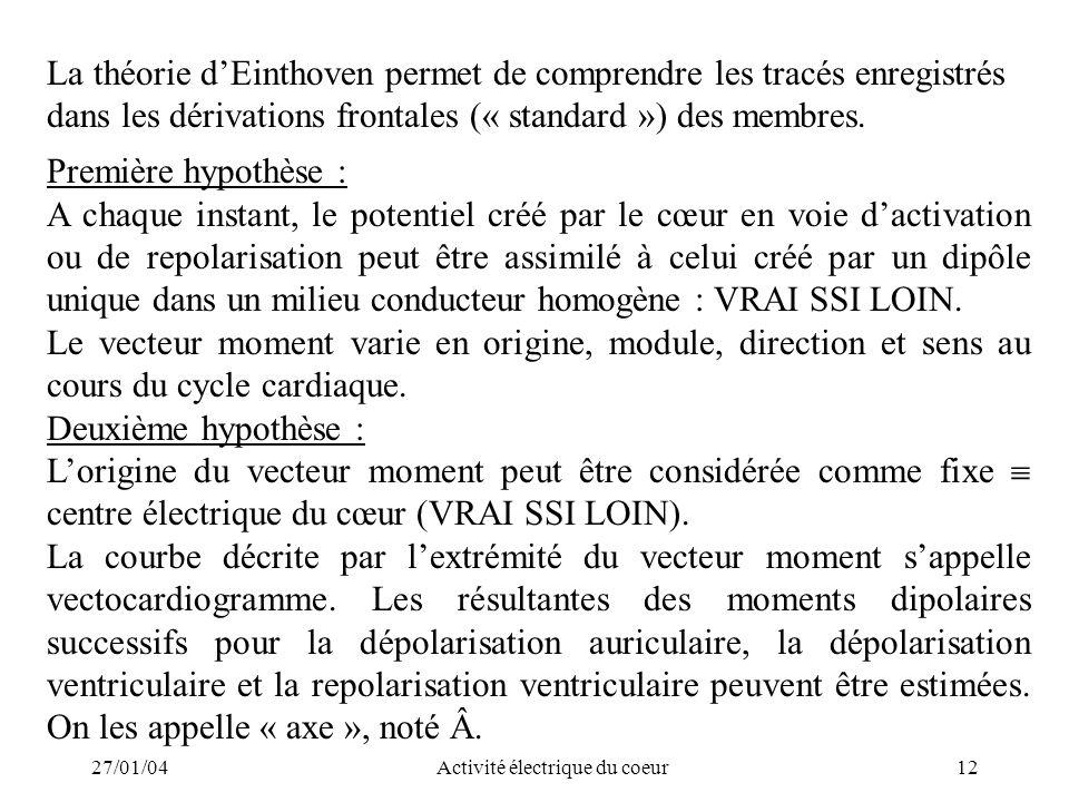 27/01/04Activité électrique du coeur12 La théorie dEinthoven permet de comprendre les tracés enregistrés dans les dérivations frontales (« standard »)