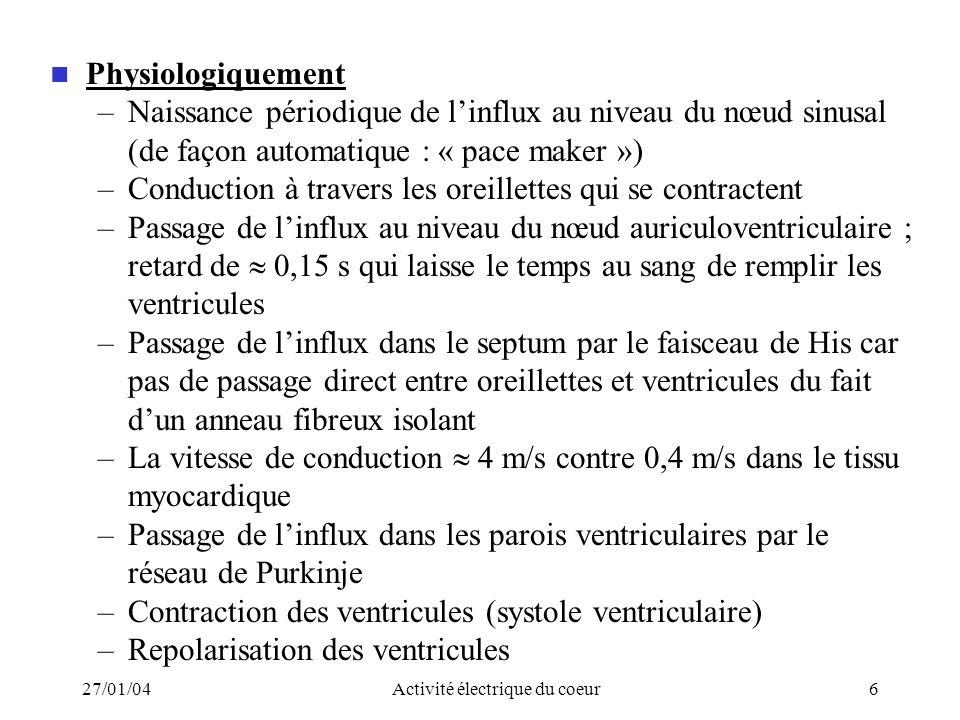 27/01/04Activité électrique du coeur6 Physiologiquement –Naissance périodique de linflux au niveau du nœud sinusal (de façon automatique : « pace make