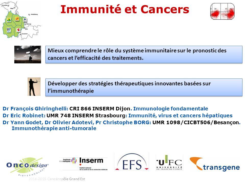 201é-2015 Cancéropôle Grand Est Immunité et Cancers Dr François Ghiringhelli: CRI 866 INSERM Dijon.