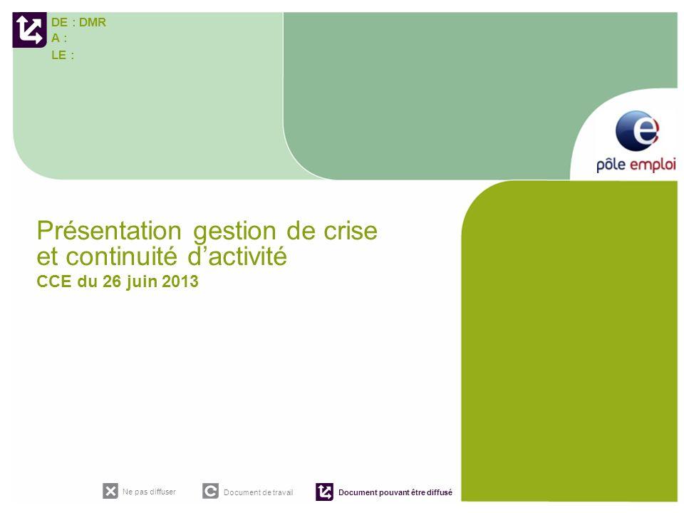 DE : DMR A : LE : Ne pas diffuser Document de travail Document pouvant être diffusé Présentation gestion de crise et continuité dactivité CCE du 26 ju